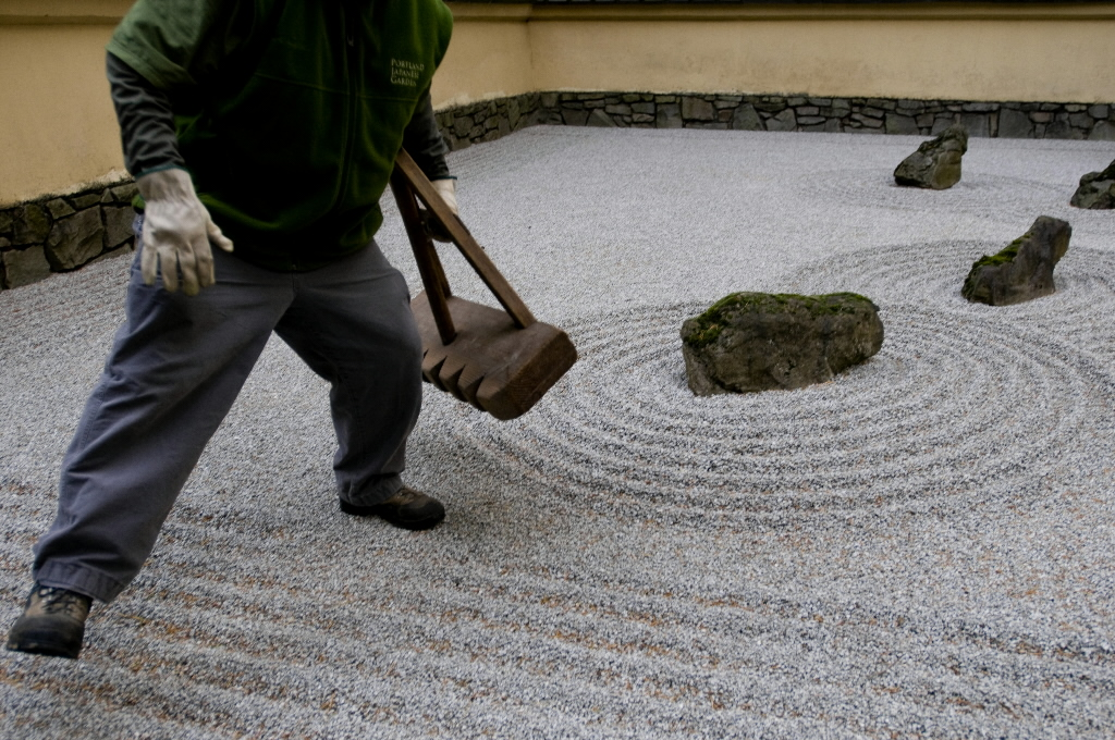 Japanese Landscape Design With Sand Garden And Stone